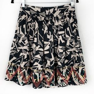 ODILLE Black Abstract Printed Skirt Beaded Trim